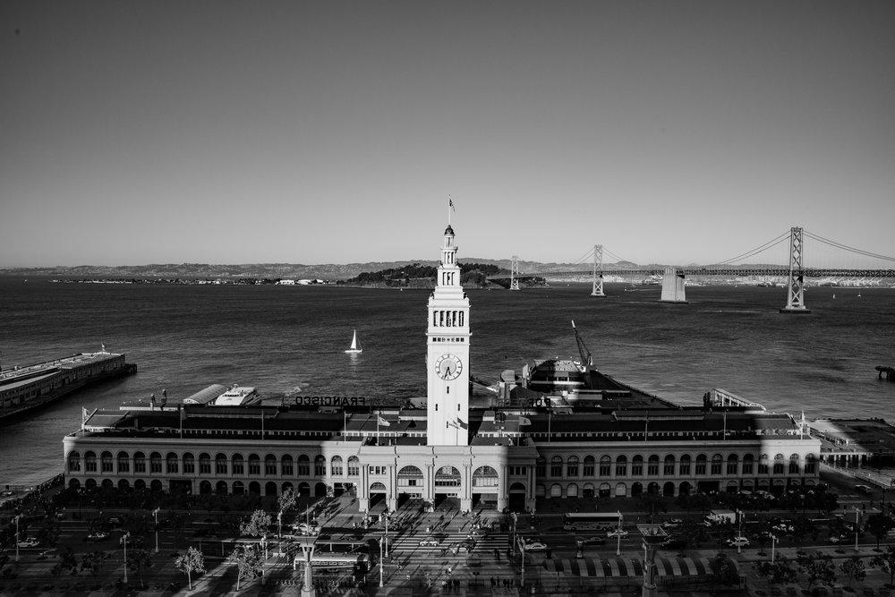 Ferry Building from Grand Hyatt (Wide Angle Focal Length, B&W, Portrait Orientation)