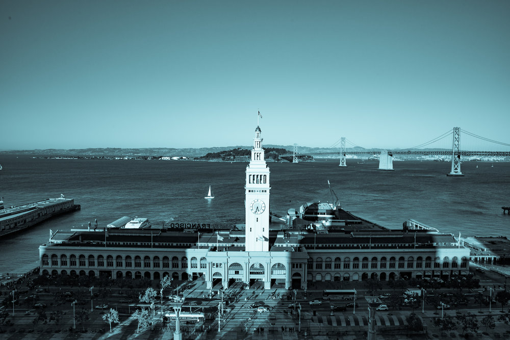 Ferry Building from Grand Hyatt (Wide Angle Focal Length, Cyanotype Tint, Portrait Orientation)
