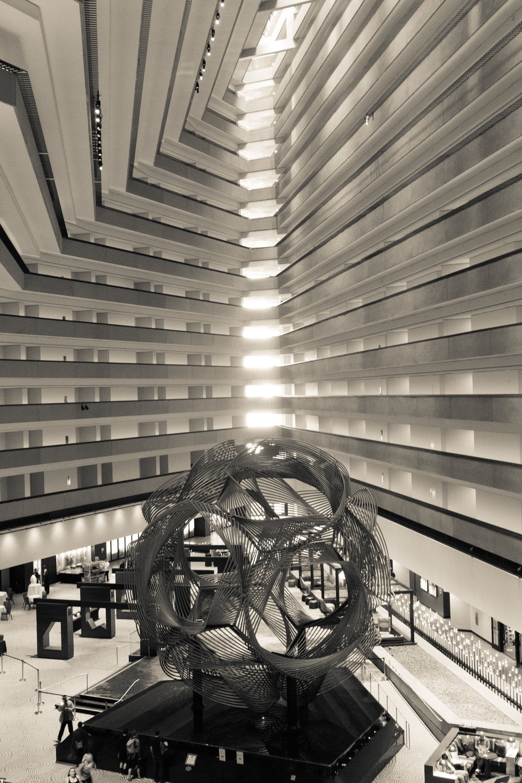 Grand Hyatt Interior (Wide Angle Focal Length, B&W, Portrait Orientation)