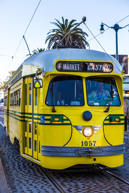 "Historical ""E"" Street Car along Embarcadero (Telephoto Focal Length, Portrait Orientation)"