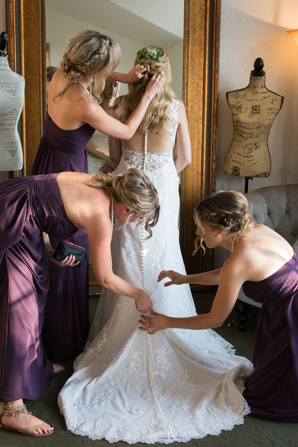 Bustling the wedding dress