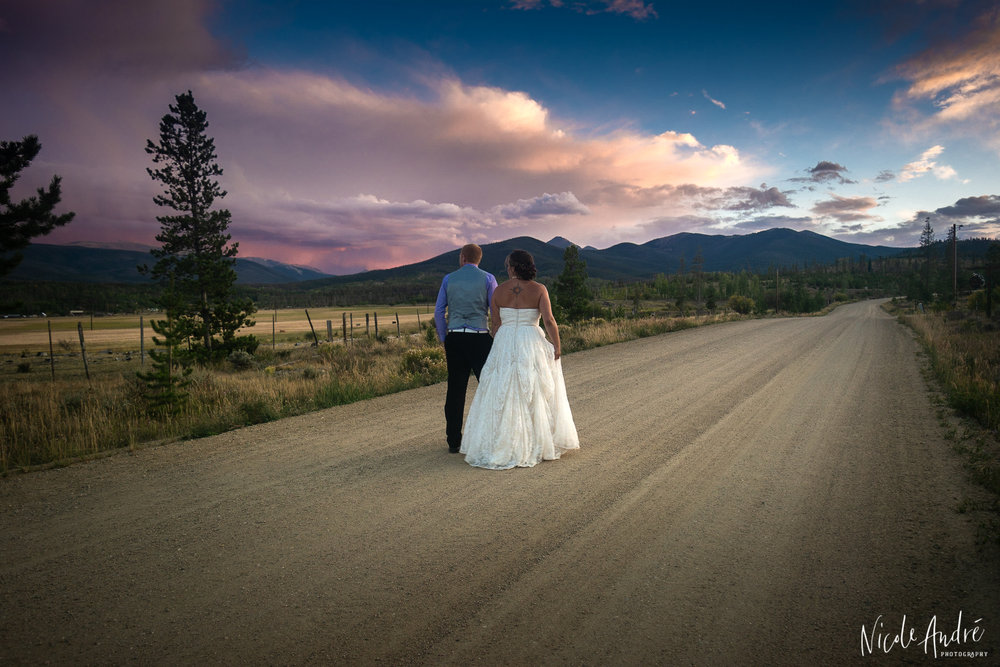 wedding photo with road