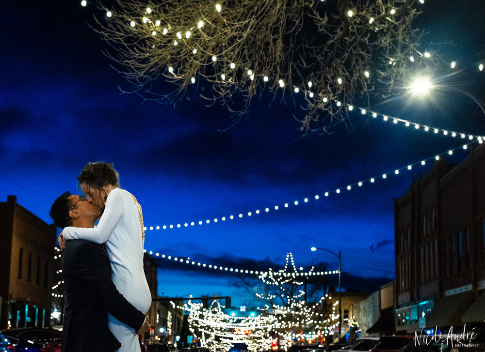 Downtown Loveland Wedding at night