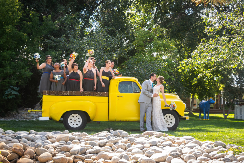 Bridal Party at Lionsgate Event Center with Yellow Truck