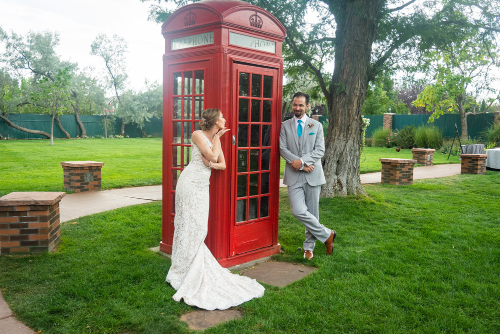 Bride + Groom with Red Telephone booth