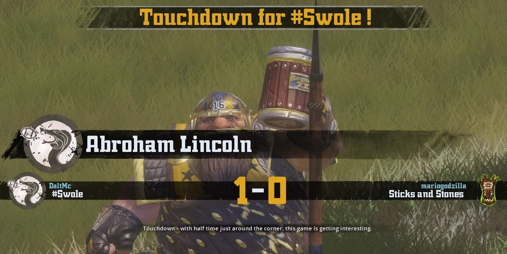 "Abroham ""Drinkin"" Lincoln saluting ""The #Swole Soldiers"" #Swole's Hooligan fan club after a touchdown."