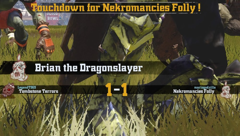 The Folly's Fearsome Wight Brian The Dragon-Slayer scoring a TD to force overtime.