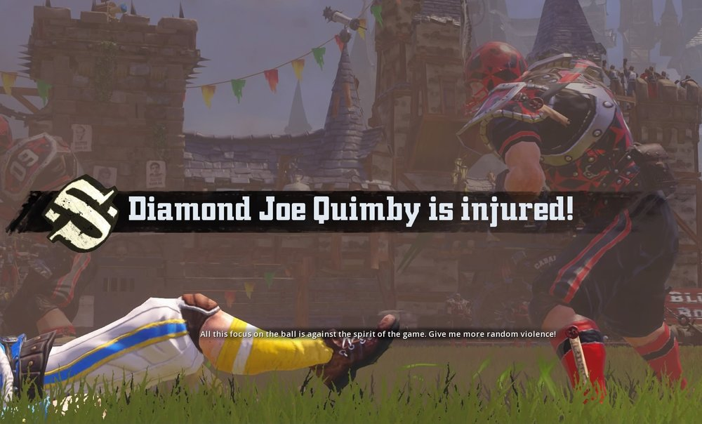 Diamond Joe Quimby goes down from a coordinated assault from The Rockport Redbacks.