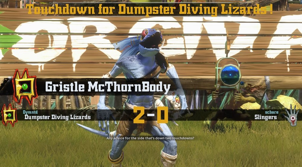 Dumpster Diving Lizards stand out team star Gristle McThornbody after scoring a touchdown!