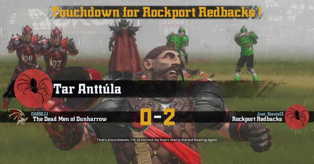 The Swarthiest member of the Rockport Redbacks scores a TD. Look at that stache!