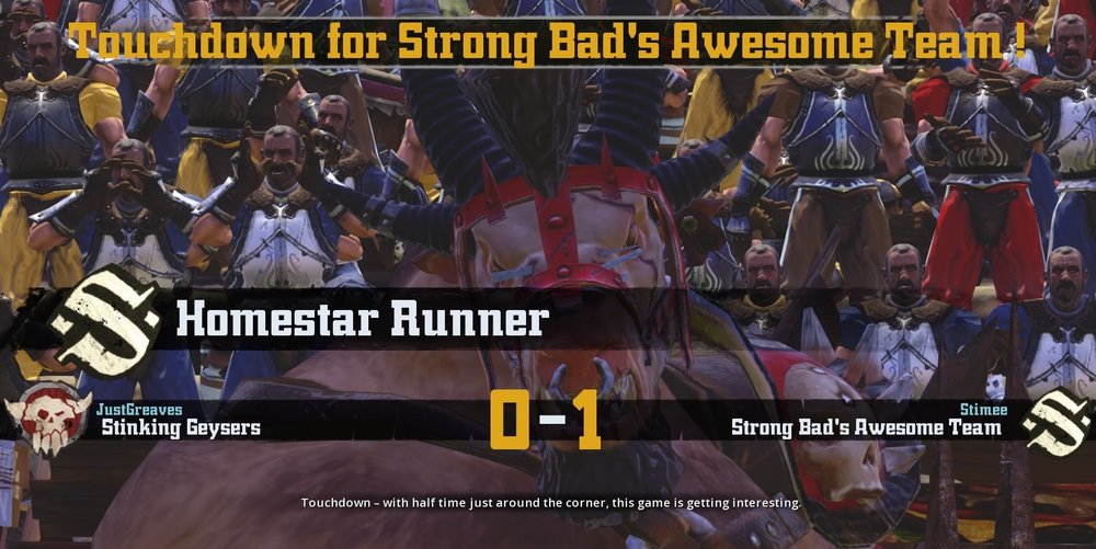 Homestar Runner Beast-man after scoring his first of two touchdowns in SBAT's rout of Stinking Geysers.