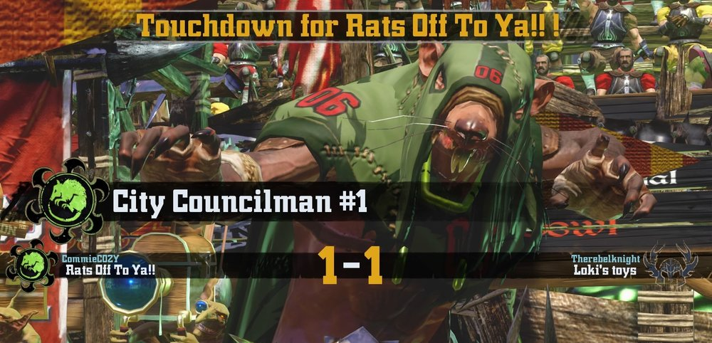 City Council-man 1 scoring the first touchdown for Rats Off To Ya!!