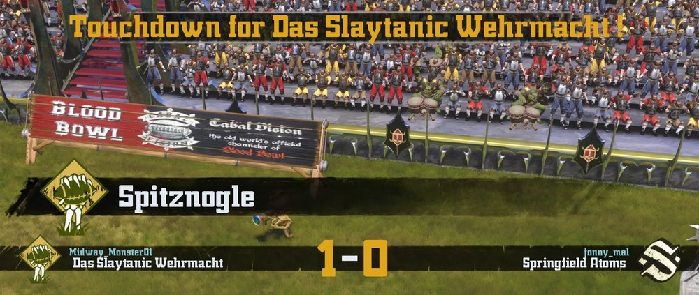 Spitznogle scoring the first touchdown for Das Slaytanic Wehrmacht and then promptly getting in line for a squid burger.