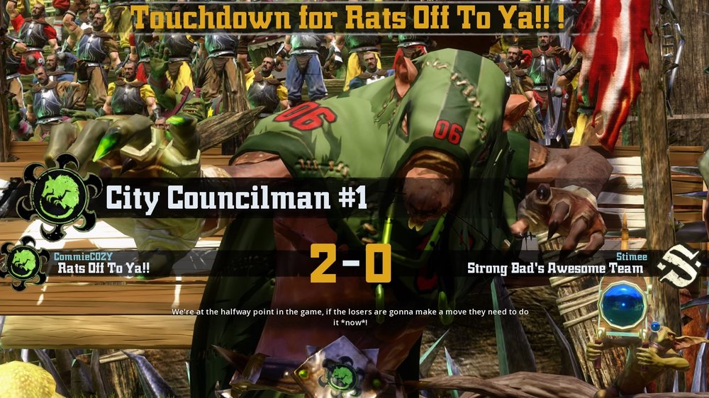 City Councilman 1 scores Rats Off To Ya's second touchdown.