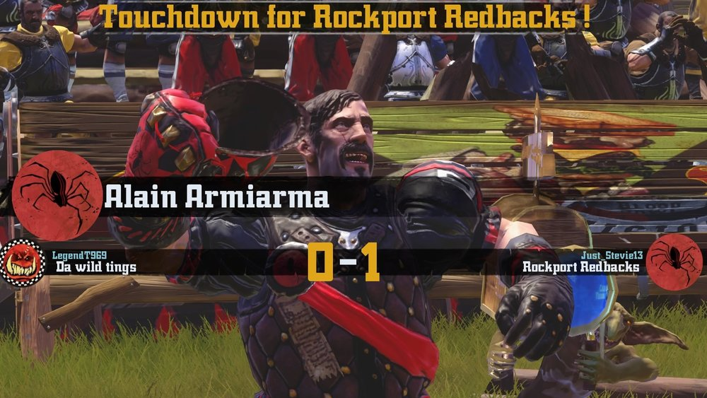 Alain Armiarma scores the winning touchdown for The Redbacks.