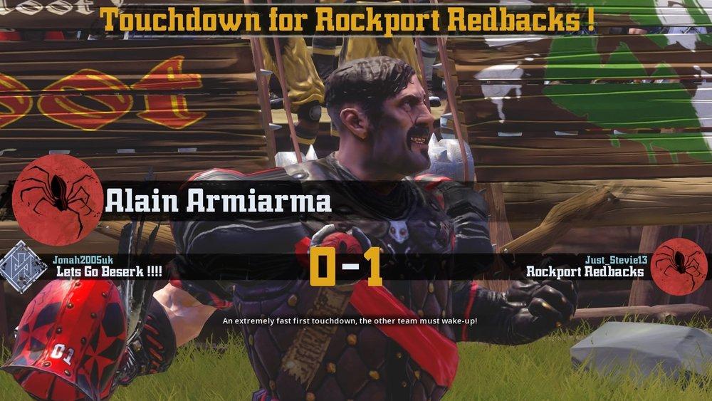 Redbacks Star Alain Armaiarma scoring the games first touchdown.