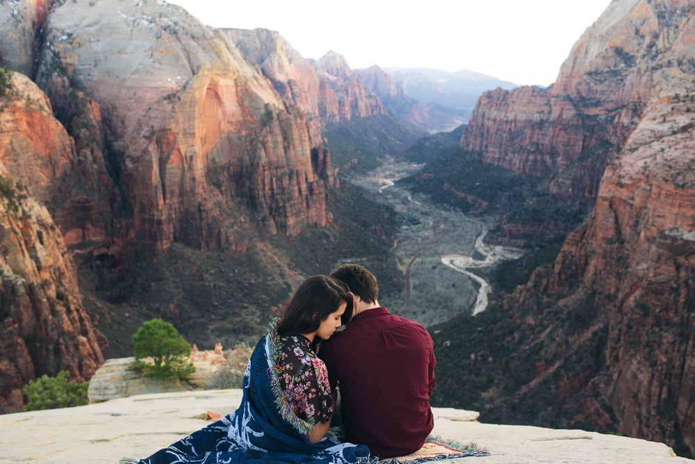 Angel's Landing Zion National Park Engagement Photographers