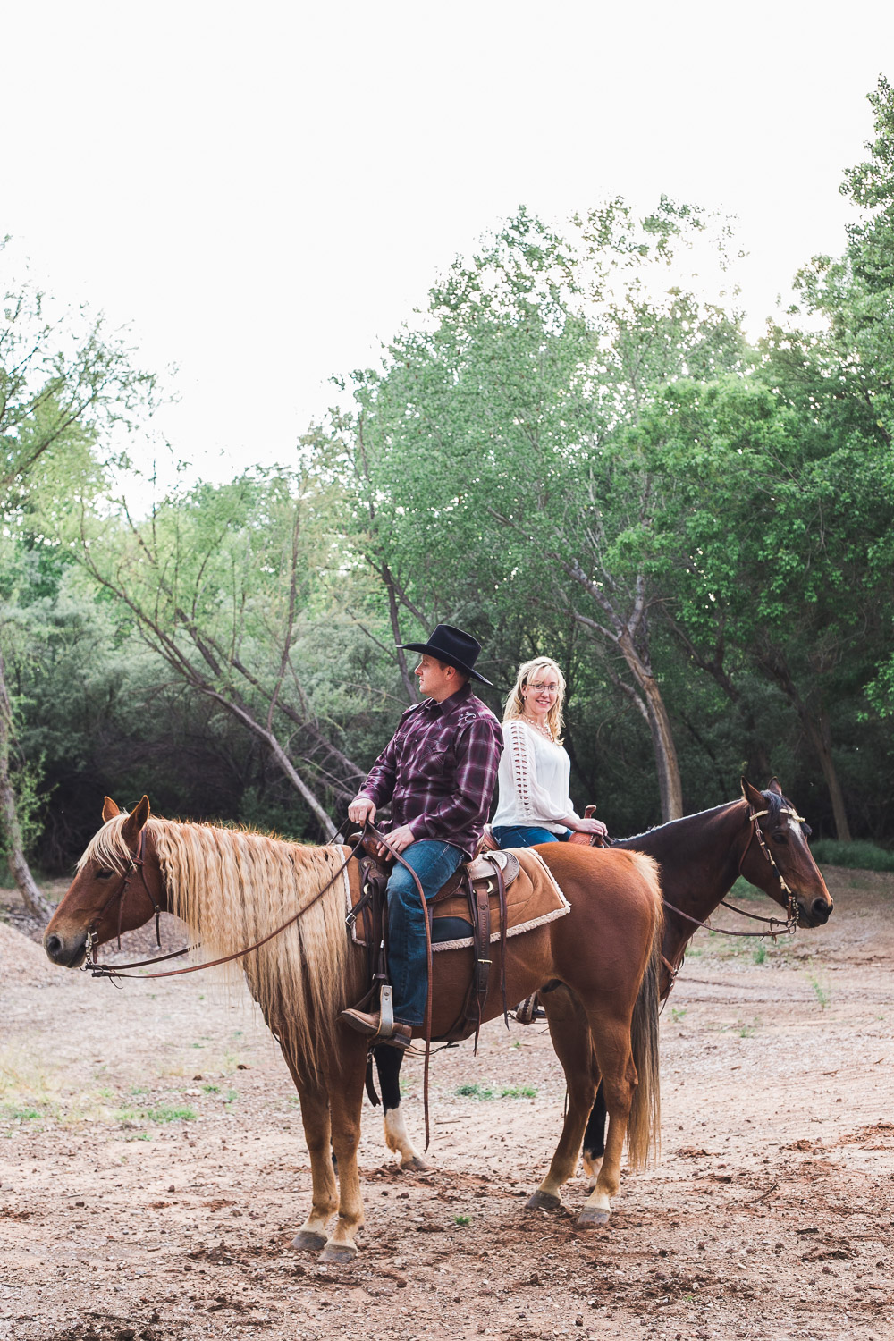 Western horse engagement photography