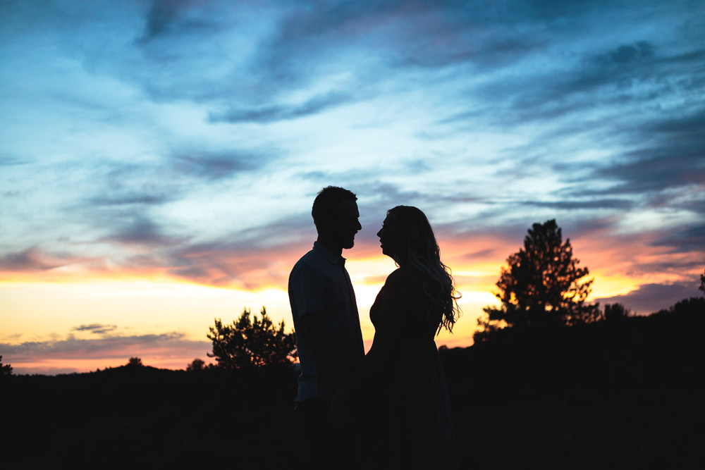 Epic Sunset Silhouette Utah Couples Photography