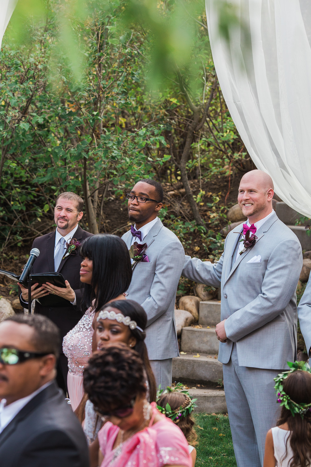 Emotional groom first look candid ceremony wedding