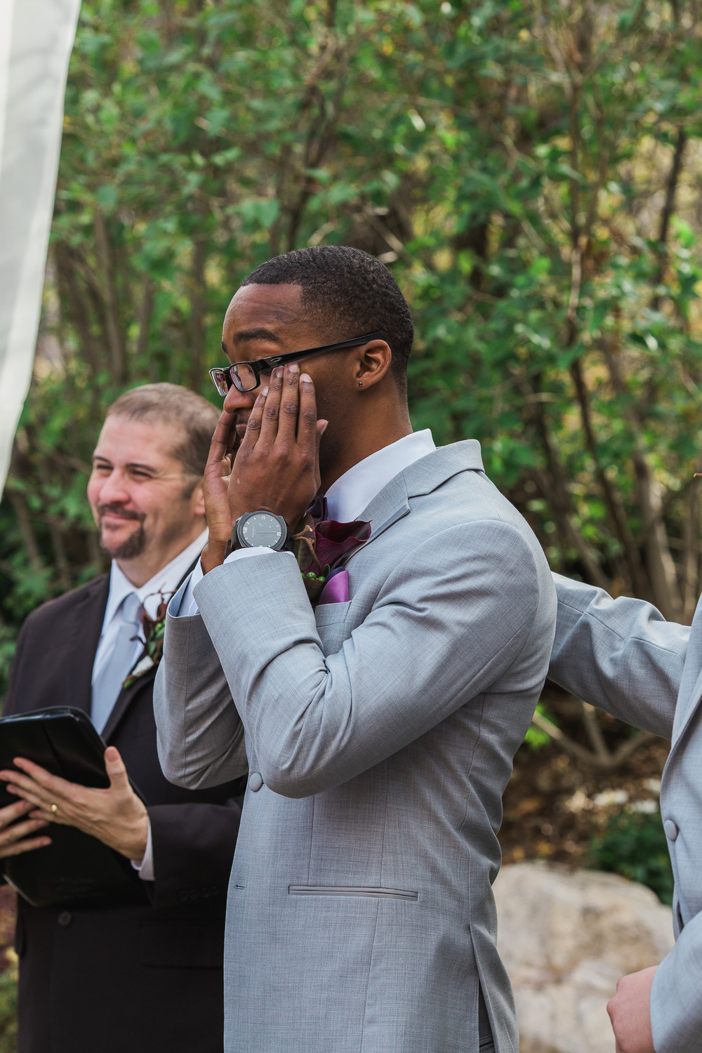 Emotional groom good reaction first look wedding ceremony