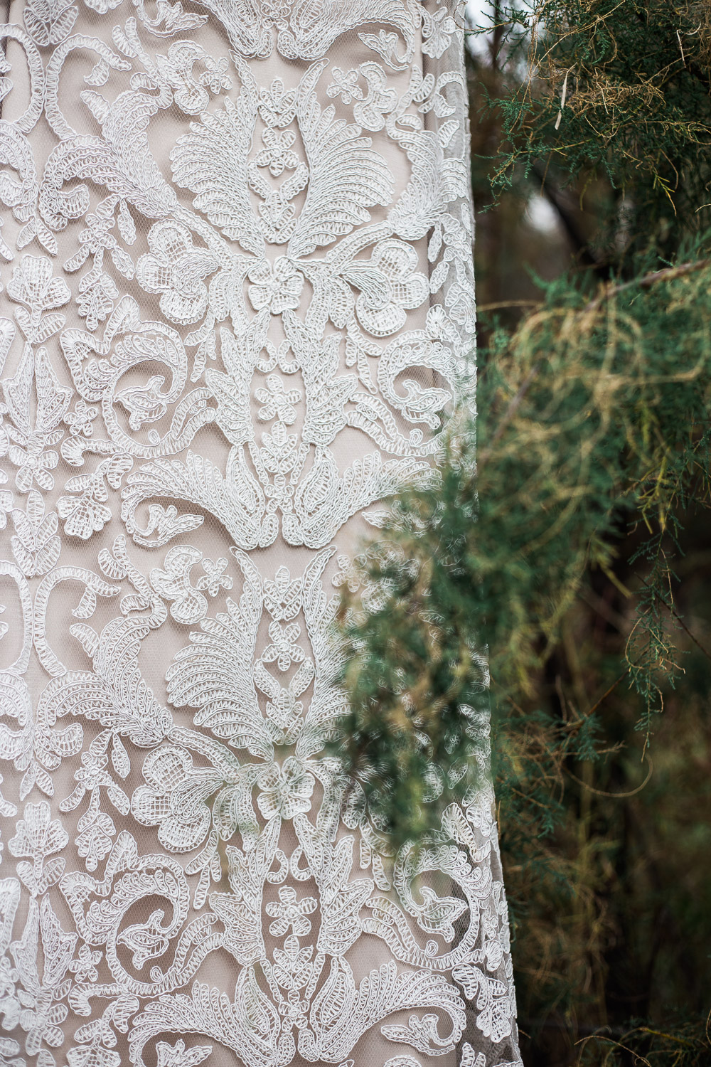 Dress close up detail foliage plant Moab Utah destination wedding photographer