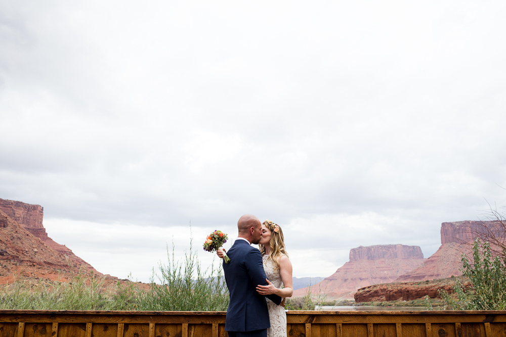 First look Red Cliffs Lodge destination wedding Moab Utah