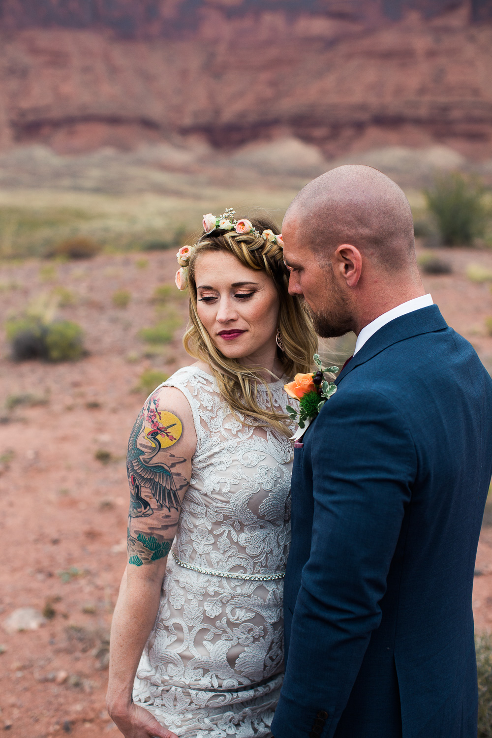 Bride and groom intimate portrait destination photographer Moab Utah