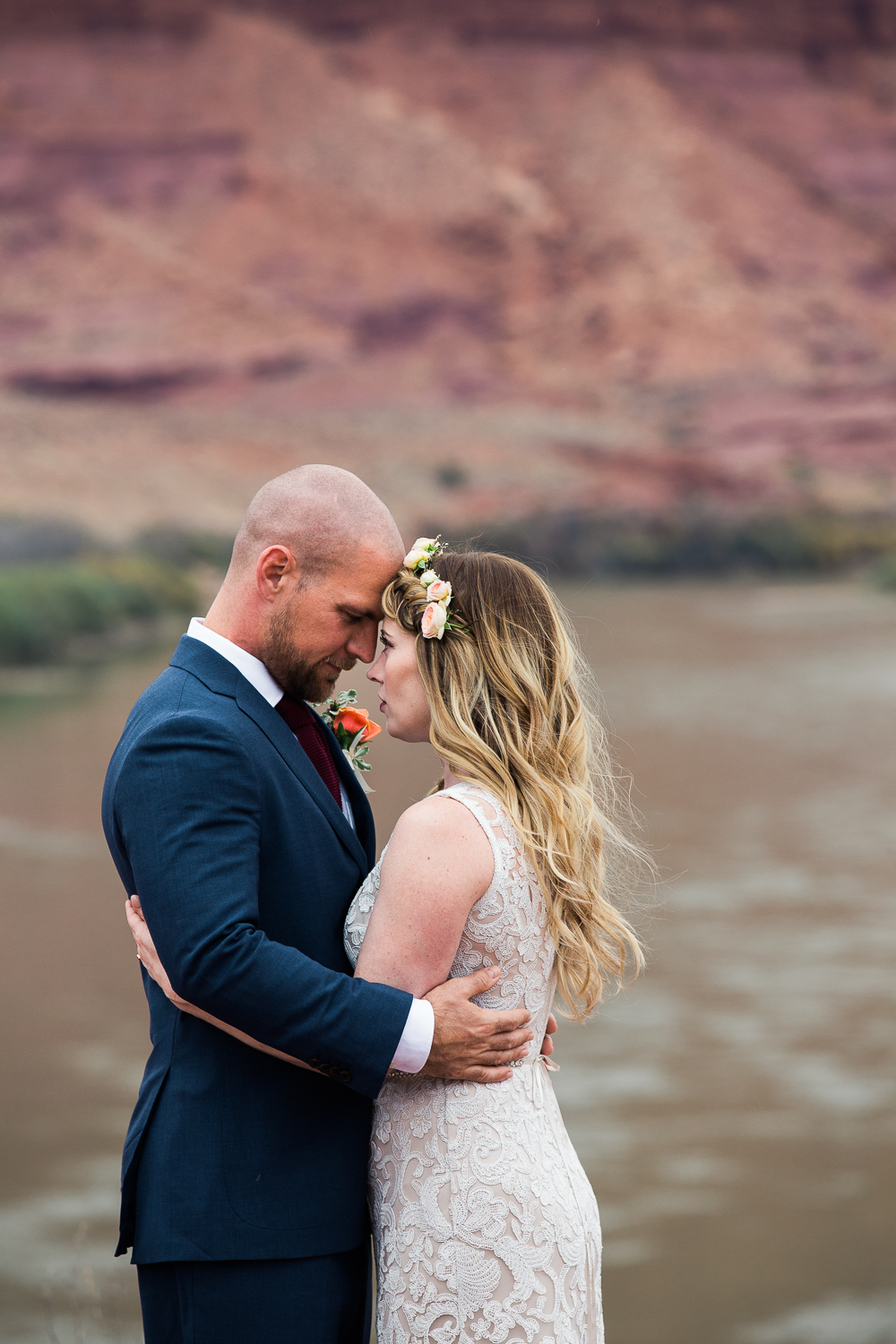 Intimate fine art wedding portraits Moab Utah