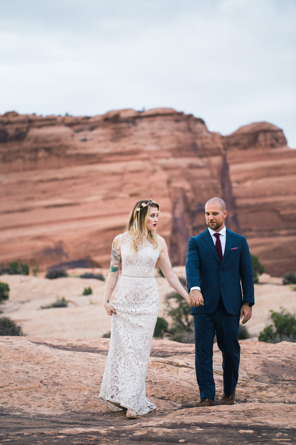 Moab Utah Arches National Park bridal portraits