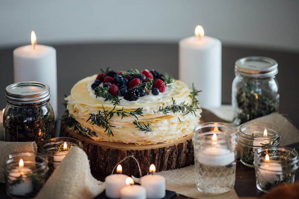 Crepe cake January winter wedding reception details