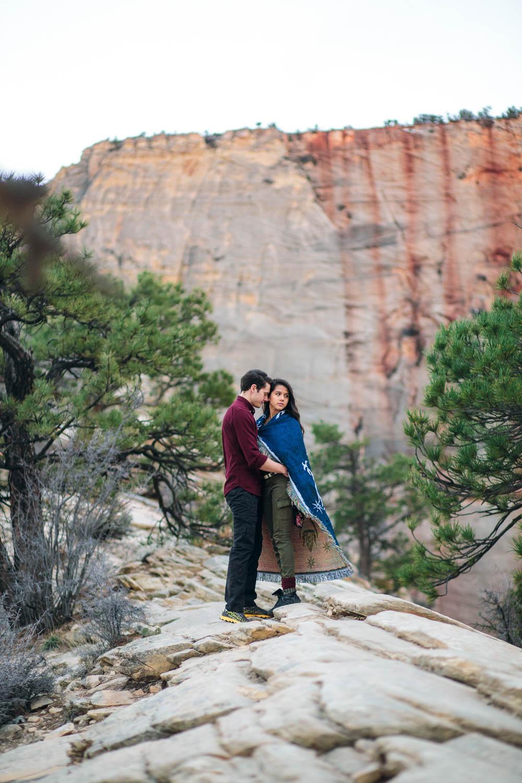 Iconic Zion National Park Angels Landing hike engagement photographers