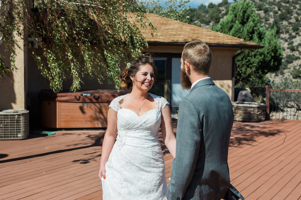 bride reaction cabin wedding utah