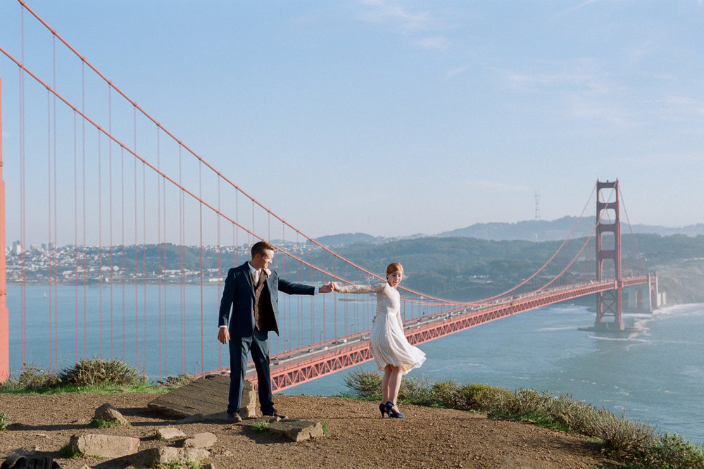Marin Highlands Golden Gate Bridge viewpoint fine art film wedding photography