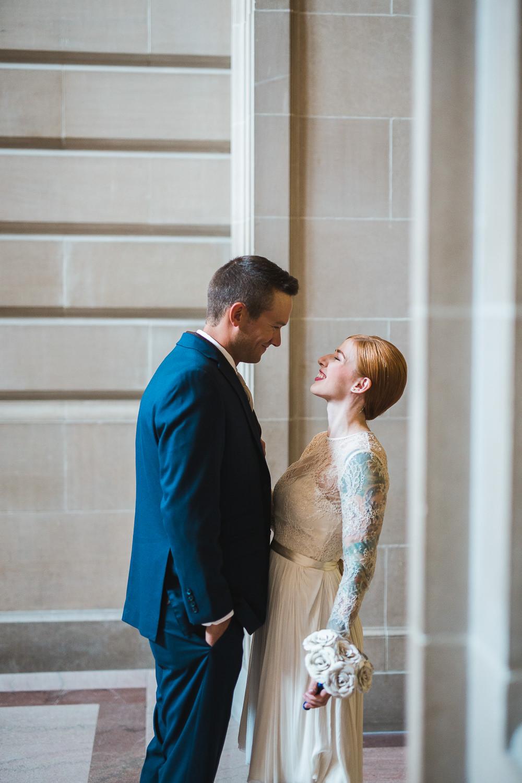 First look tea length wedding dress san francisco elopement wedding