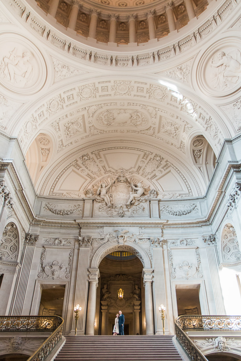 san francisco city hall stairs and rotunda elopement photographers