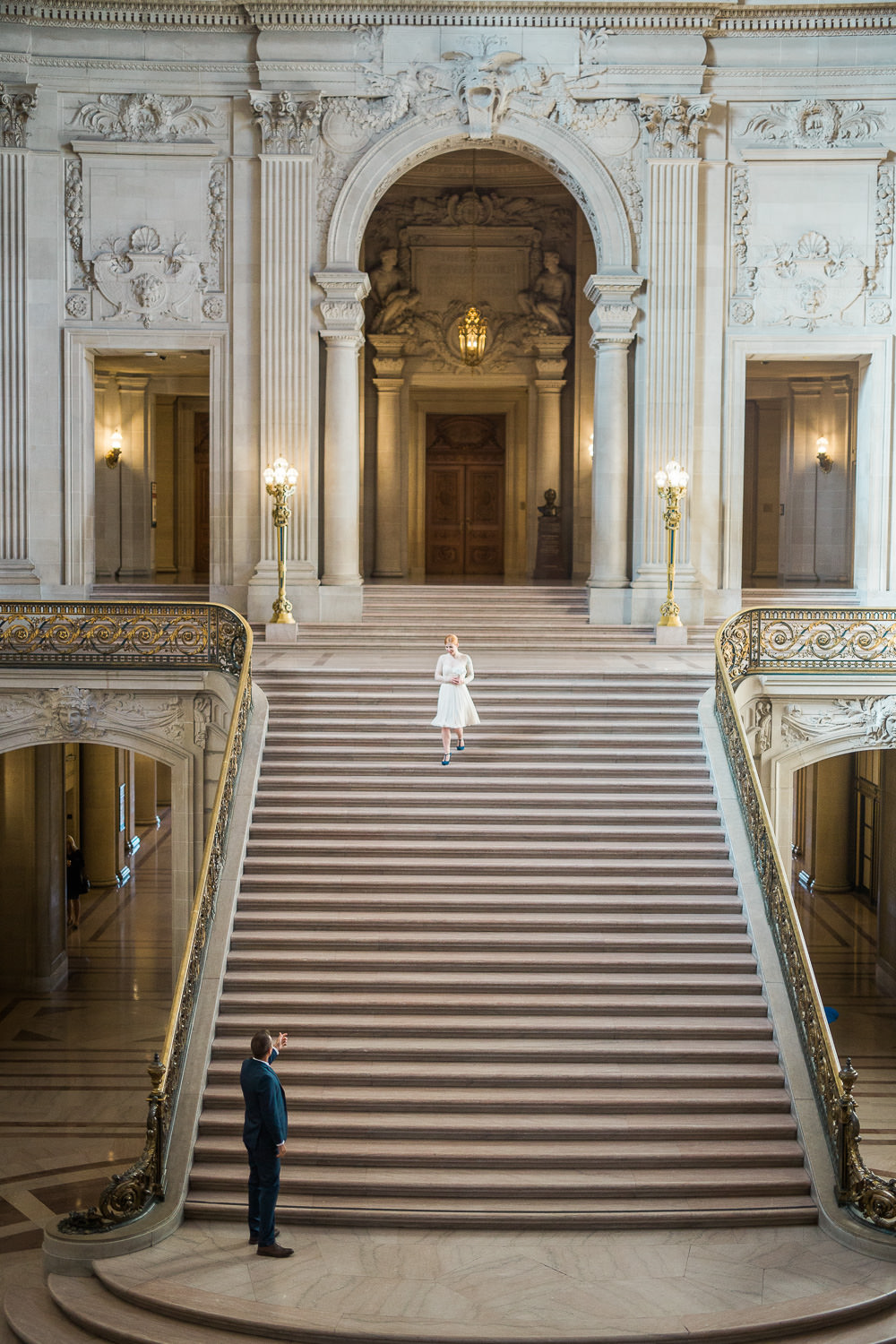 San Fran City Hall Elopement bride and groom on the stairs