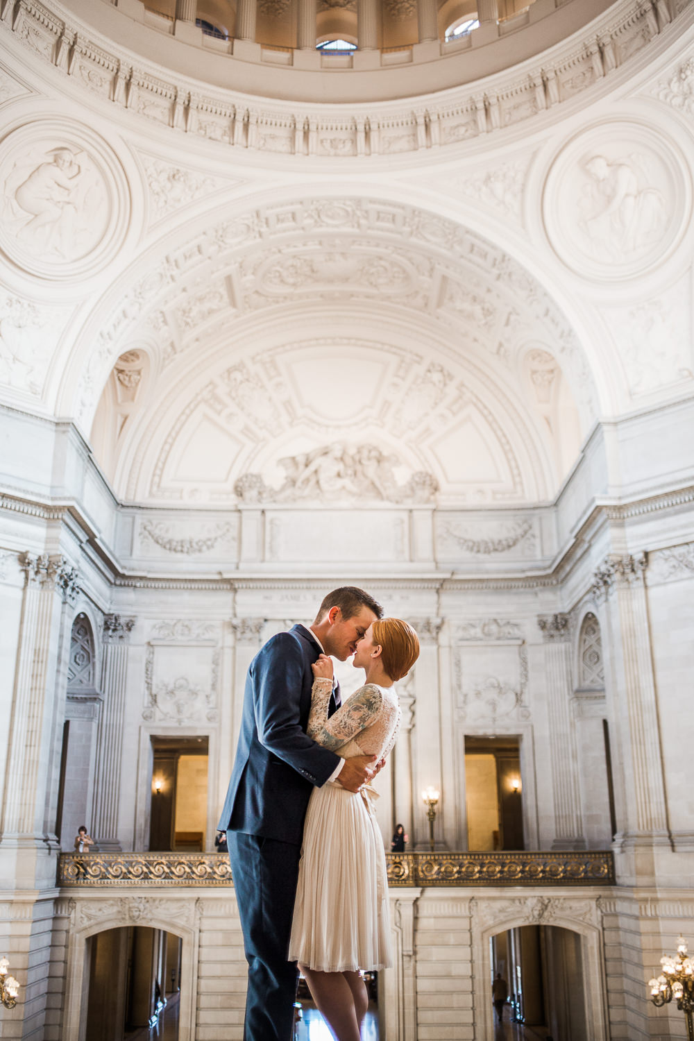 San Francisco City Hall architecture wedding portraits Catherine Deane Waterfall Dress
