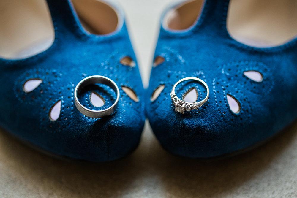 Wedding ring detail pictures blue felt bride heels