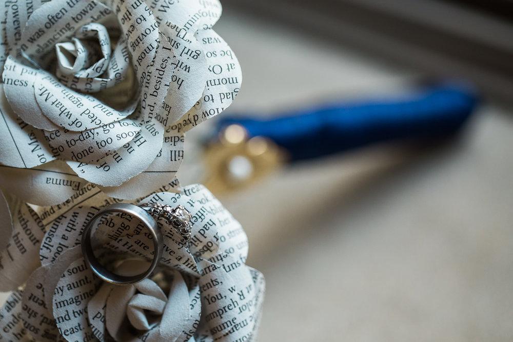 Etsy unique jane austen book bouquet wedding ring details