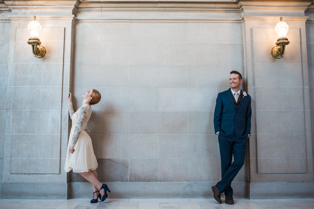 Alternative posing technique City hall elopement portraits