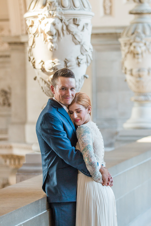 Window light wedding portrait