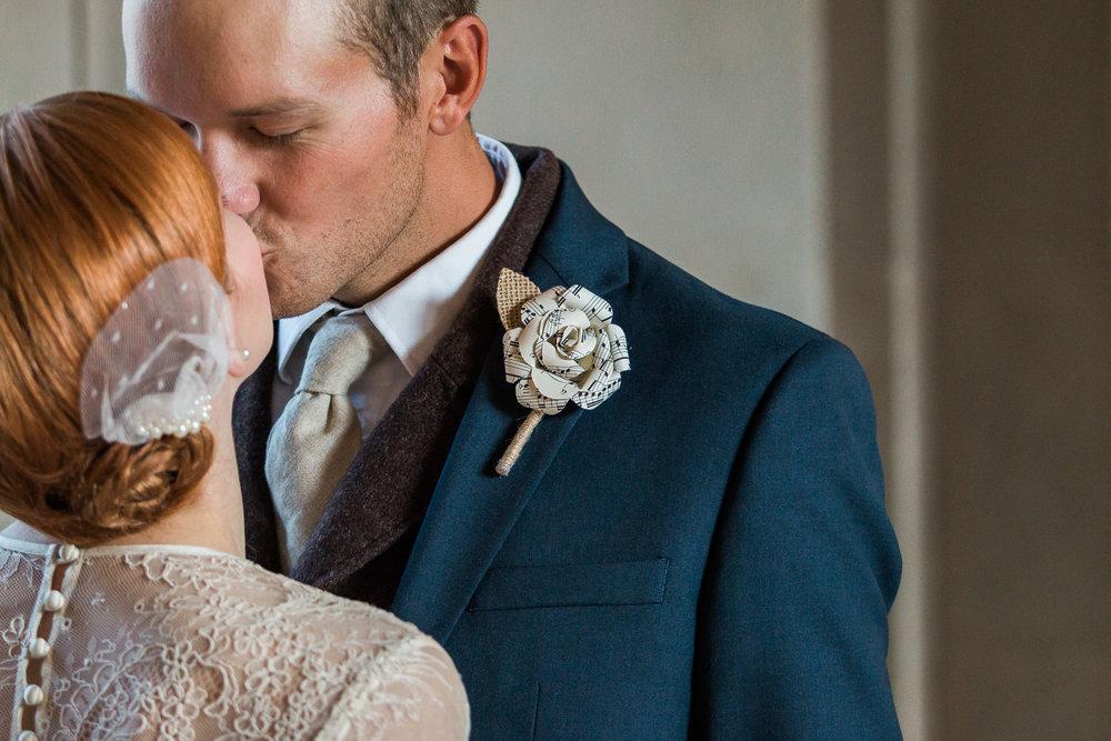Unique vintage wedding details jane austen paper flower boutonniere