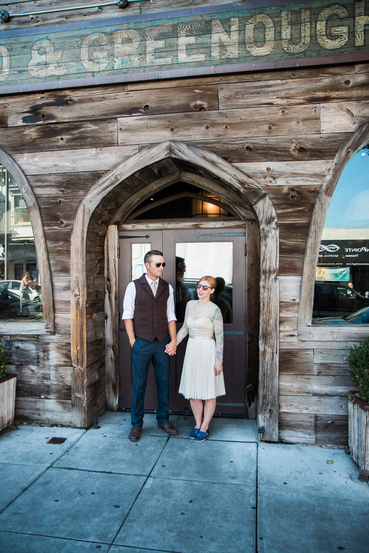 Trendy urban San Francisco elopement exploring the city portraits