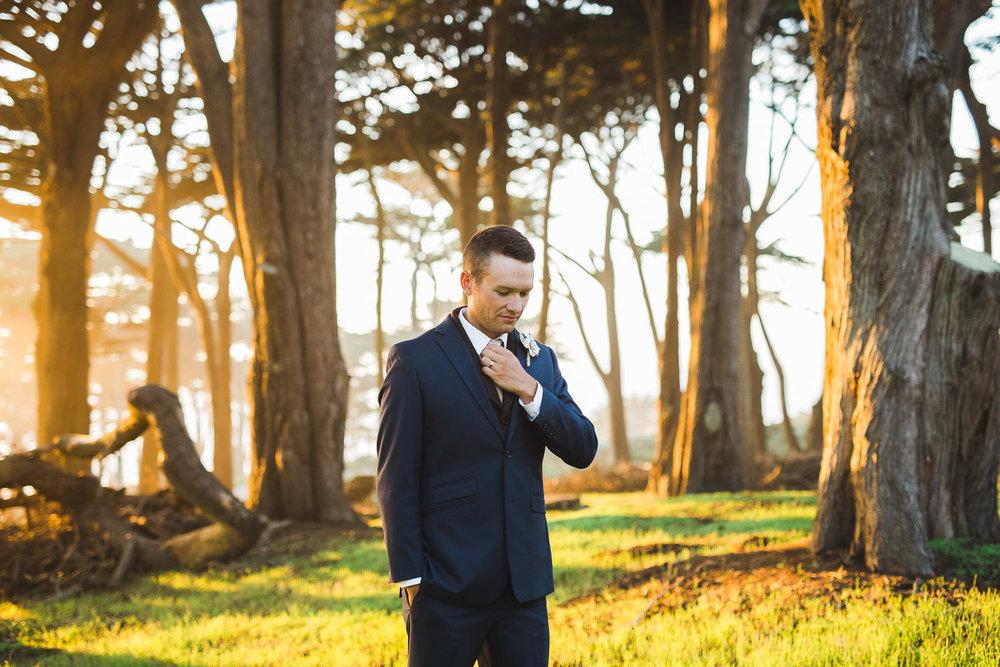 Trendy groom attire Lands End California portrait
