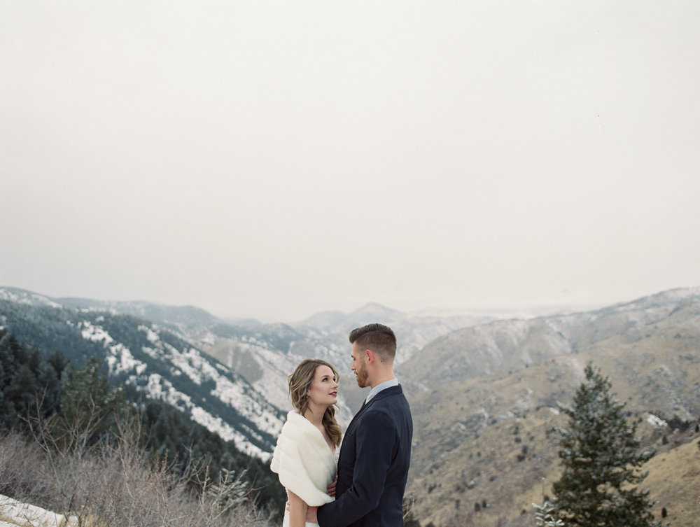 Fujifilm 400h fine art film photography winter elopement Lookout Mountain Colorado