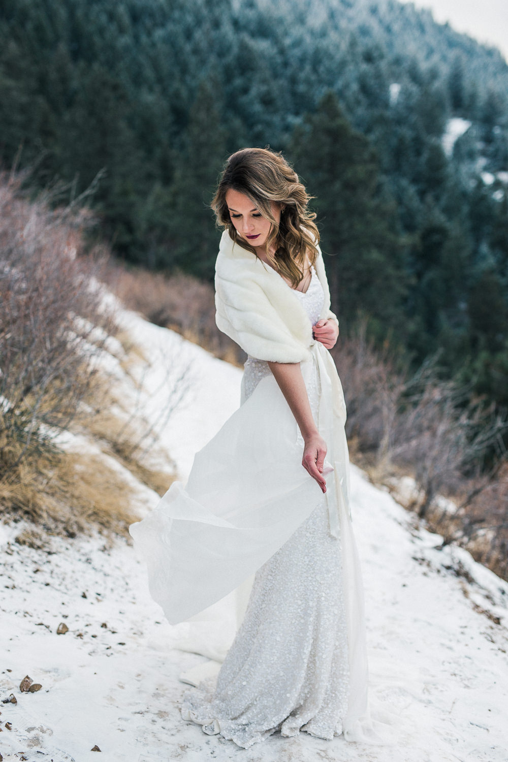Emma and Grace bridal studio winter wedding dress fur shawl elopement inspiration
