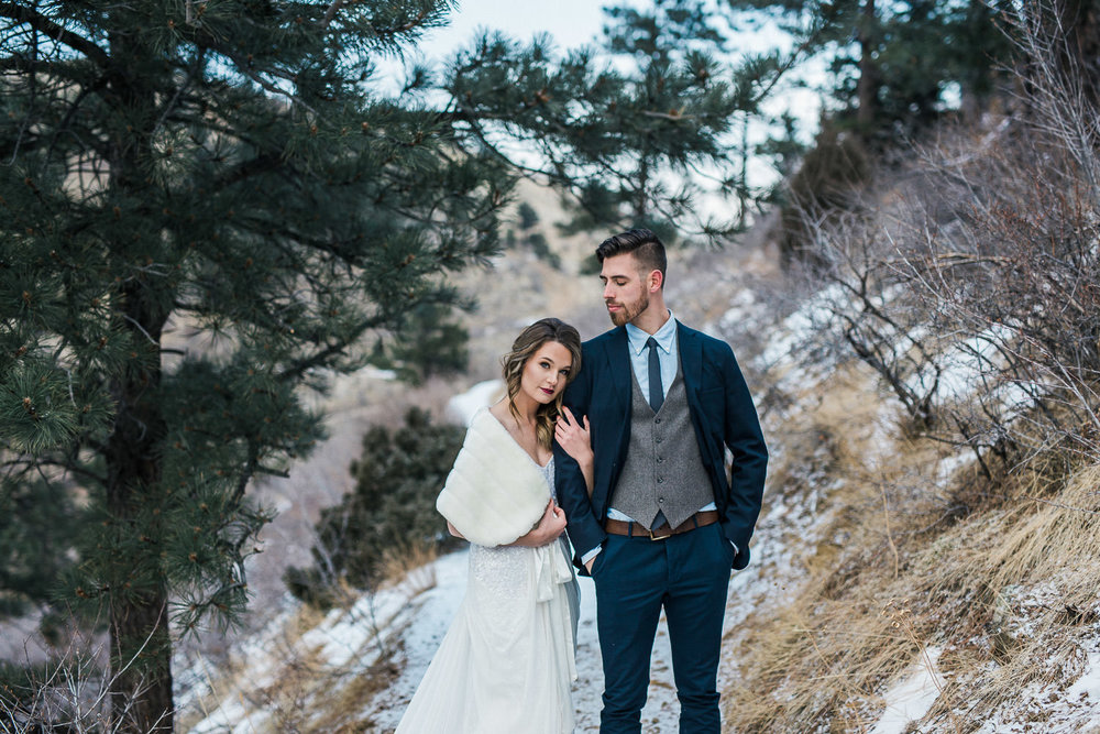 Winter mountain Elopement Inspiration Denver Colorado