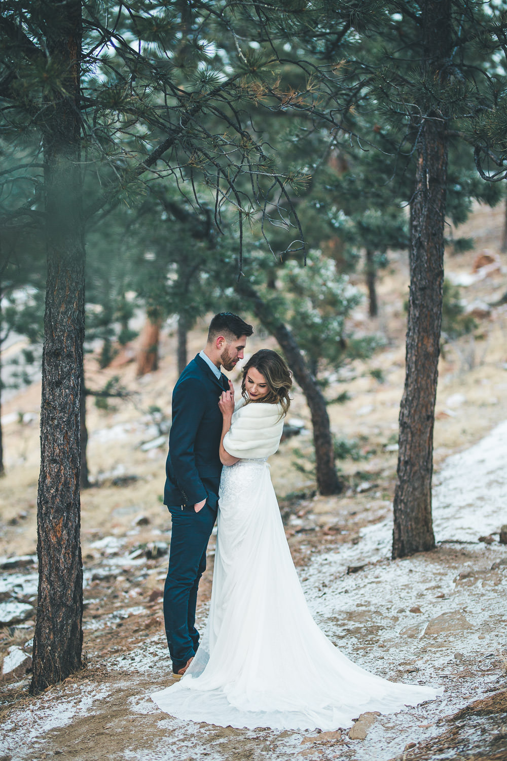 Colorado Rocky Mountain winter intimate wedding photographers