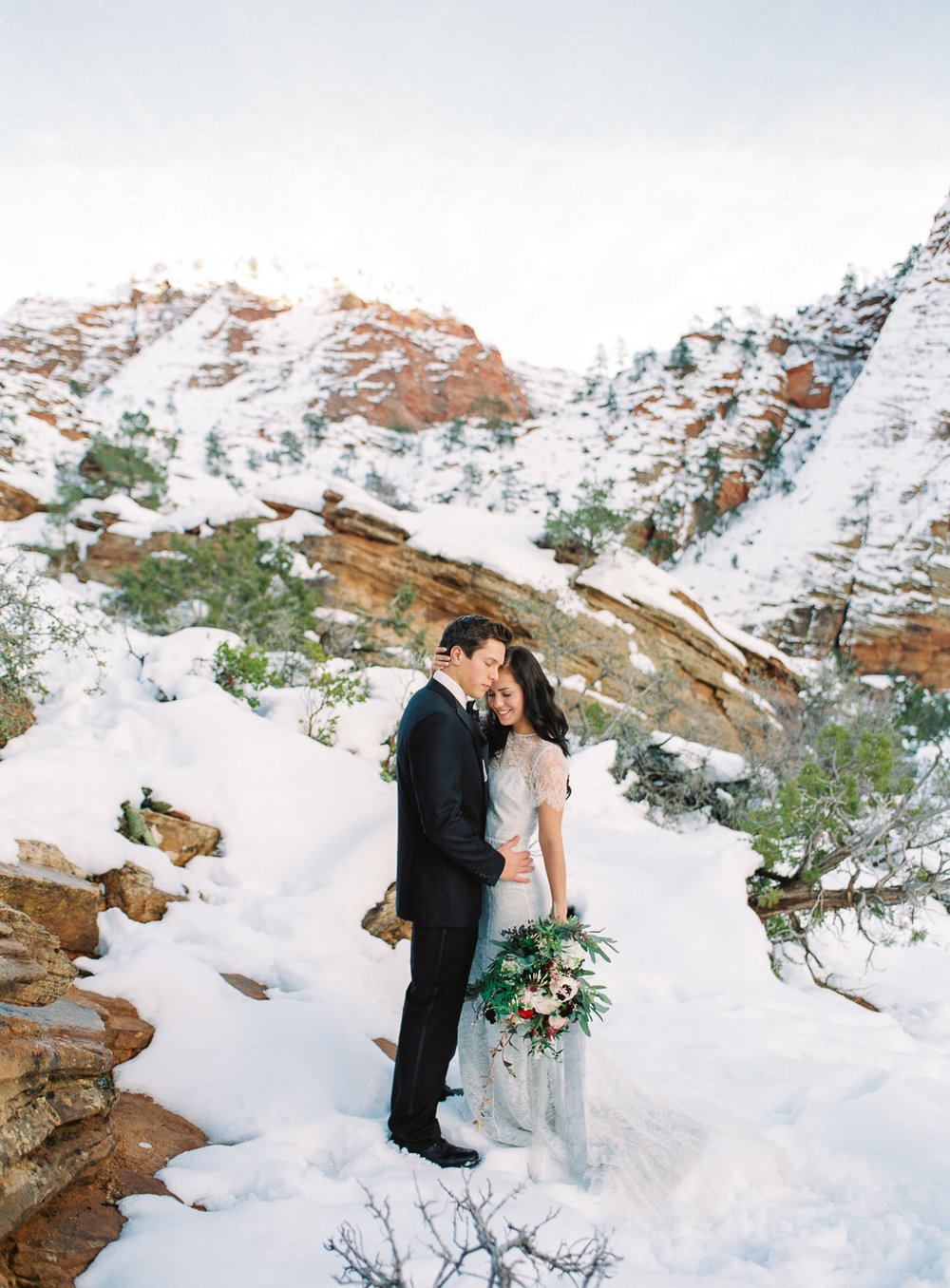 Fine art film Zion National Park Elopement Fuji 400h Boutique Film Lab
